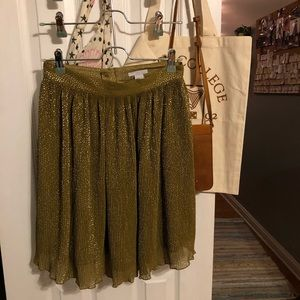 H&M Pleated Yellow Sparkly Skirt